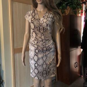 Snake skin patterned dress with ruching.